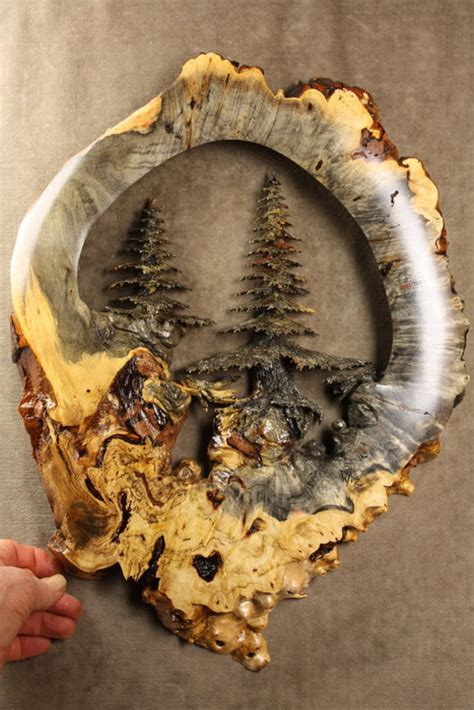 deep forest  buckeye burl wood carving carved  gary