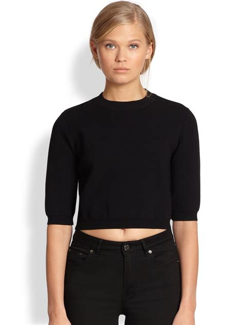 cropped sweater acne studios cropped sweater in black lyst