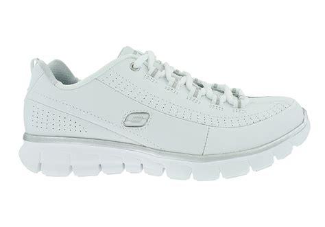 Size 25 5 Sepatu Sandal Original Skechers Synergize Current womens skechers sport synergy elite status white silver