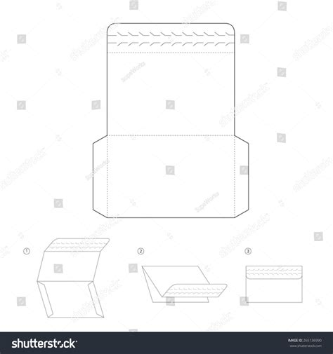 envelope layout template vector envelope template design with opener stock vector