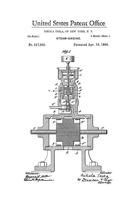 tesla generator patent tesla steam engine patent print 1894 tesla invention