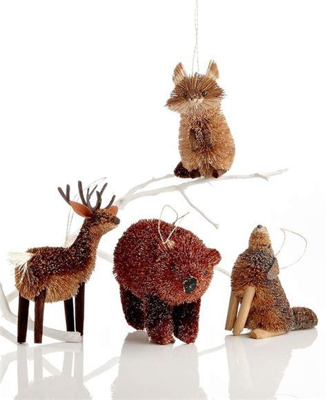 bristle woodland animal christmas tree ornaments foxes