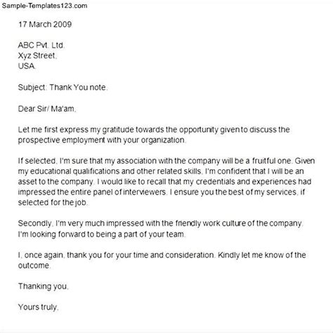 thank you letter after interview sample appreciation letter