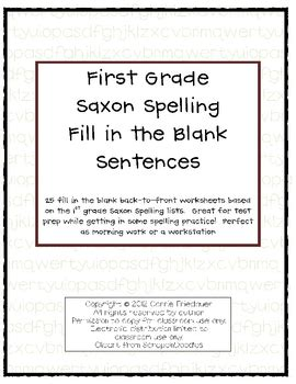 Saxon Phonics And Spelling K Worksheets by Saxon Phonics Spelling Fill In The Blank Sentences 1st