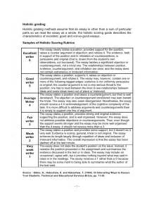 Sample Rubric For Essay A Sample Of Holistic Scoring Rubric