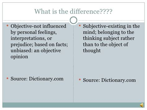 exles of objective and subjective statements objective vs subjective