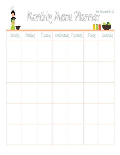 monthly food calendar template monthly meal plan calendar free