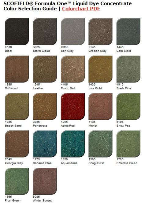 scofield color chart scofield formula one liquid dye concentrate color chart