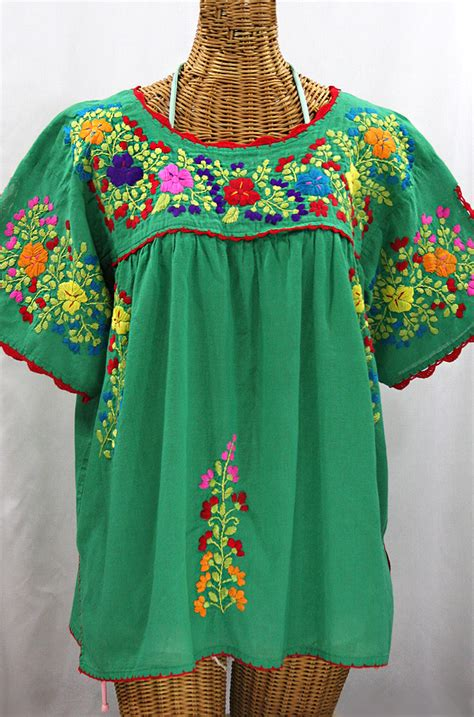 Blouse By Liblre quot lijera libre quot plus size mexican blouse green multi