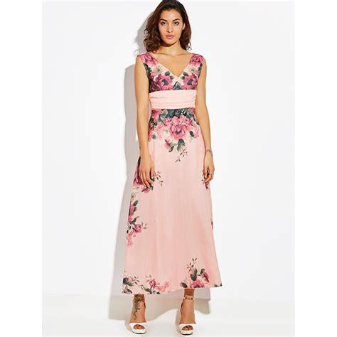 Pink Floral V Neck Playsuit Size Sml 1 s pink v neck sleeveless empire waist floral print maxi dress n15791