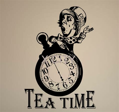 in quote tea time clock mad hatter vinyl wall sticker decal room kitchen