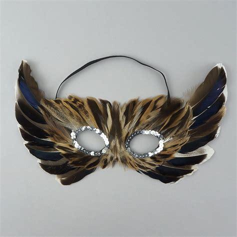 Masker Nature barn owl feather mask feather masks masks