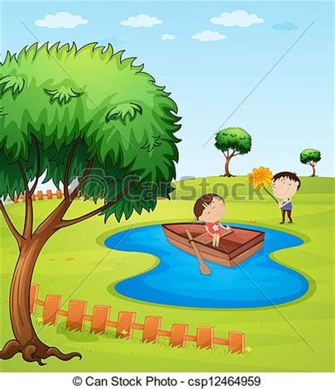 children s boat cartoon kids and a wooden boat illustration of kids and a wooden