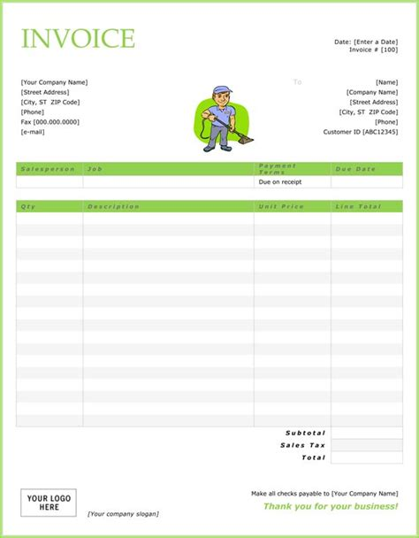 cleaning company template cleaning service invoice
