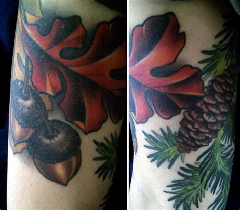 oak leaf tattoo acorn and oak leaves alex wrekk