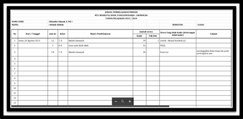 format buku harian guru contoh aplikasi format jurnal harian guru kelas semua