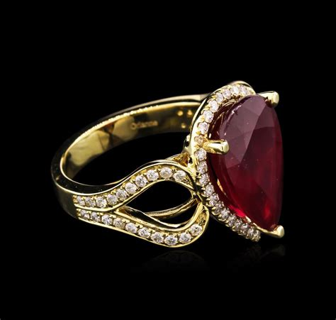 8 45ct ruby and ring 14kt yellow gold