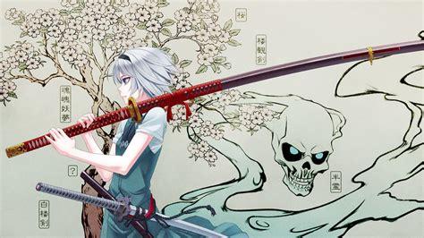 wallpaper anime samurai anime girls blossoms blue eyes cherry blossoms dress