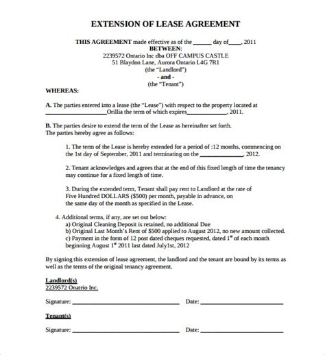 Lease Modification Letter Lease Extension Agreement 8 Sles Exles Format