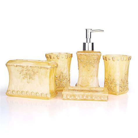 pretty bathroom sets beautiful pearl floral 5pcs resin bathroom accessories set