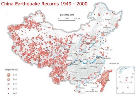 earthquake records map of china where earthquake was