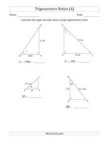 calculating angle and side values using trigonometric