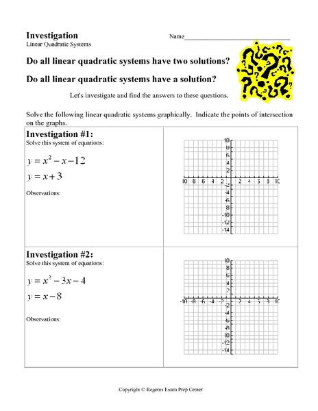 Linear Quadratic Systems Worksheet by Solving Systems Of Quadratic Equations Worksheet Solving