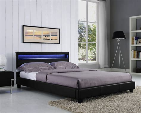 Lighted Bed Frame King Size Bed Frame Led Headboard Light And Mattress Stylish Design Ebay