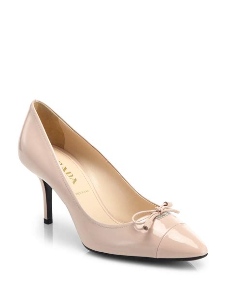 Prada Olympia Heels 9948 prada patent leather bow pumps in beige cipria blush lyst