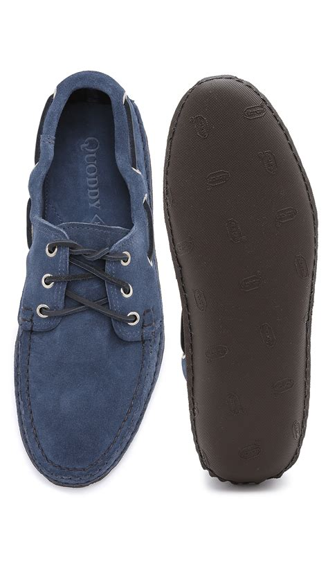quoddy shoes quoddy suede boat shoes in blue for sharks fin lyst