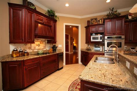 pictures of kitchens traditional wood cherry color kitchen 48