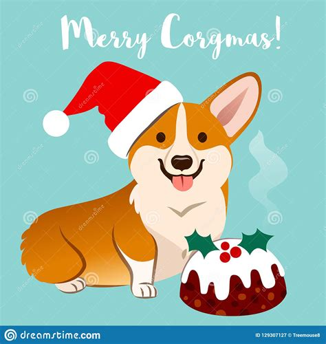 corgi dog  christmas santa hat  fruitcake vector cartoon  stock vector illustration