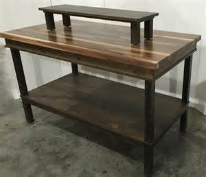 rustic wood retail display table shelf smaller rise work