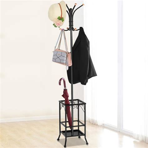 Coat Rack Umbrella Holder by Standing Coat Hat Rack W Umbrella Holder 8 Hook Steady