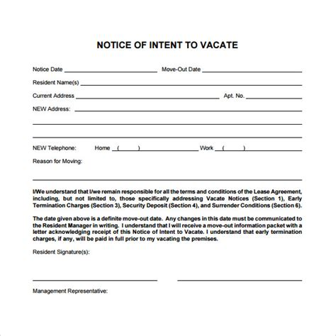 vacancy template sle intent to vacate letter template 28 images 9 intent