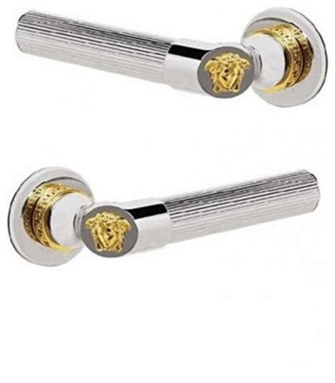Versace Door Knobs by Versace Door Handles Chrome 24k Gold Medusa Trim Set Of