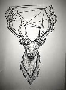 stag designs geometric stag black white tattoos pinterest