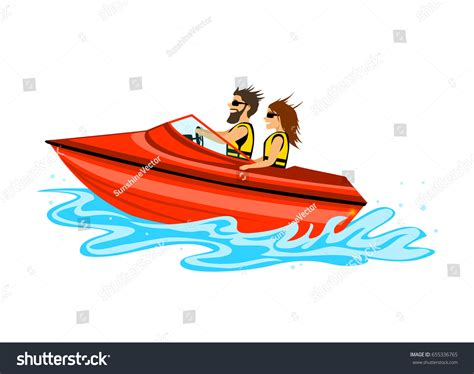 speed boat driving man woman couple driving speed boat stock vector 655336765