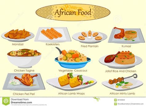 alimentos de africa collection of delicious african food stock vector image