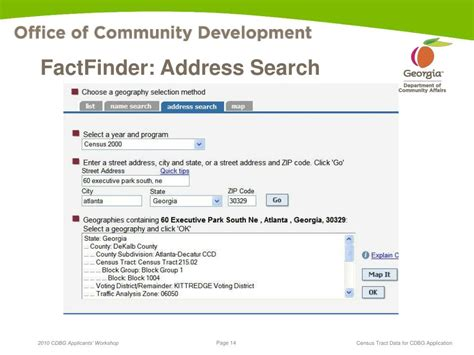 Search Address Ppt Cdbg Application Census Tract Data Powerpoint