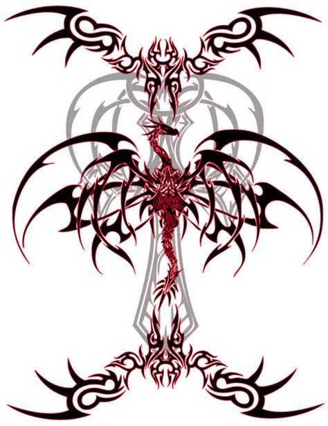 red and black tribal dragons tattoo free design ideas
