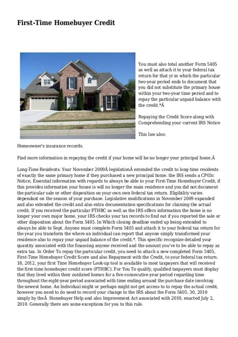 time homebuyer credit