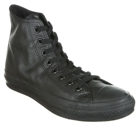 mens converse all hi leather black mono trainers