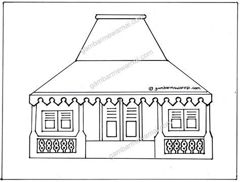 gambar mewarnai rumah adat kreasi warna
