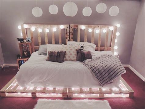 bed on pallets pallet bed with lights to achieve good sleeping quality