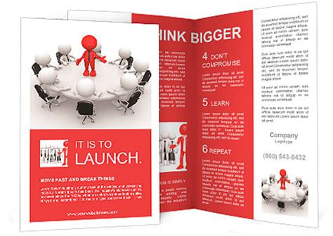 3d People Men Person At Conference Table Leadership And Team Brochure Template Design Id Team Brochure Template