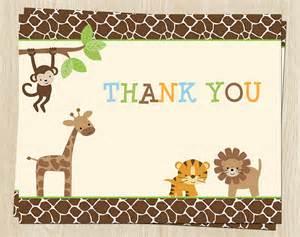 jungle safari birthday thank you cards tiger giraffe