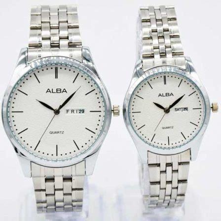 Jam Tangan Alba Rantai Sepasang Silver Gold Cover White jam tangan alba iii