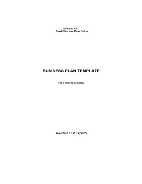 Start Up Business Letter Template business plan template for a start up company free