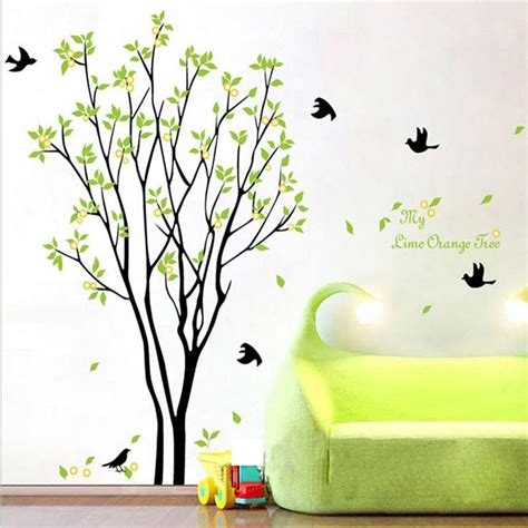My lime orange tree wall art mural wall decal sticker green tree with fruits wallpaper decal
